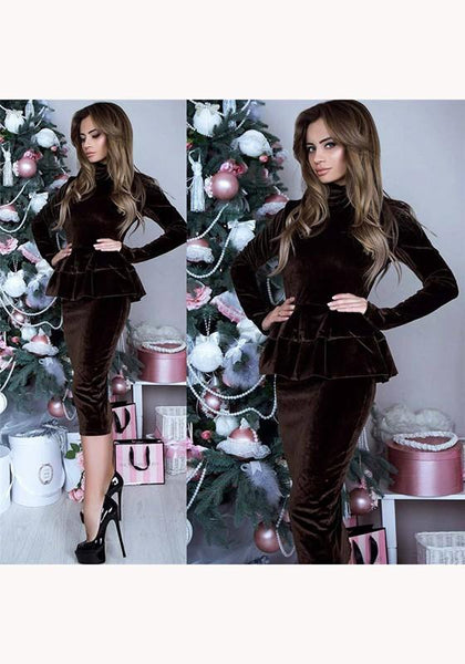 Coffee Ruffle High Neck Long Sleeve Fashion Midi Dress