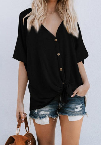 Black Single Breasted V-neck Casual Going out Blouse