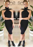Black Backless Cut Out Boat Neck Short Sleeve Midi Dress