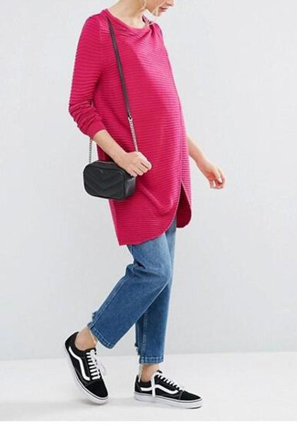 Red Irregular Slit Maternity Long Sleeve Pullover Sweater
