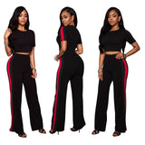 Stripes Patchwork Crop Top with Long Wide-leg Pants Two Pieces Set
