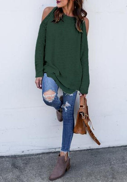 Dark Green Cut Out Round Neck Casual Pullover Sweater