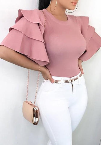 Pink Cascading Ruffle Round Neck Short Sleeve Fashion T-Shirt