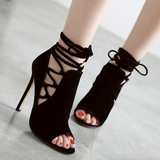 Sexy Strap Lace Up Hollow Out Black Sandals