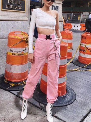 Pink Pockets Chain High Waisted Streetwear Causal Fashion Long Cargo Pants