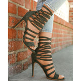 Straps Cross Ankle Wrap Tassels Open Toe Stiletto High Heels Sandals