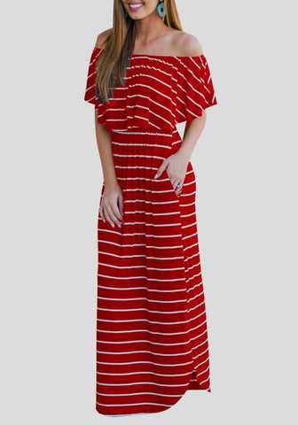 a8f26fb3a7ae Red-White Striped Ruffle Off Shoulder Pockets Backless Elegant Homecoming  Party Maxi Dress
