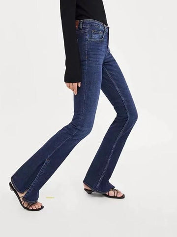 New Blue Zipper Pockets Mom Flare Bell Bottom Fashion Jeans