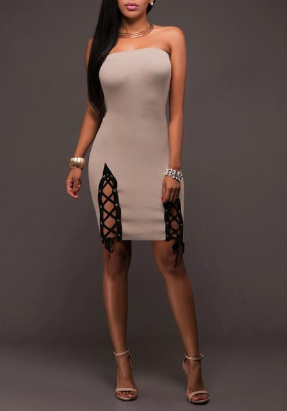 Nude Patchwork Bandeau Hollow-out Lace-up Boat Neck Off-Shoulder Homecoming Bodycon Mini Dress