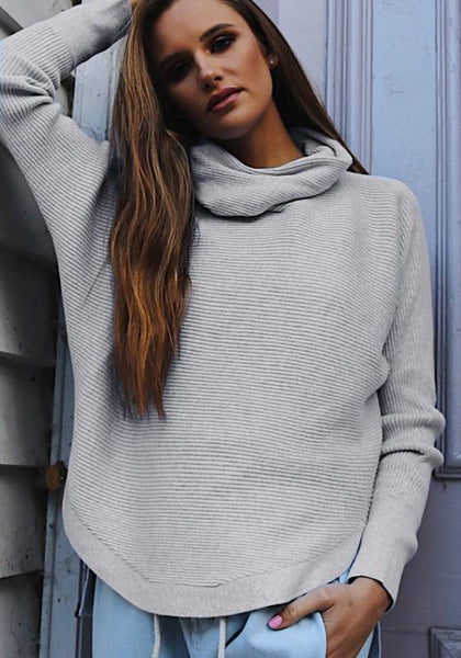 Grey High Neck Long Sleeve Casual Polyester Pullover Sweater
