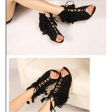 Tassels Cut Out Retro Peep Toe Flat Sandals
