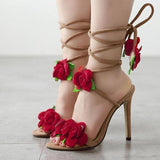 Flowers Straps Bandage Peep Toe High Heels Sandals