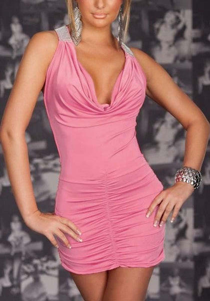 Pink Patchwork Cross Back Ruffle 2-in-1 Plunging Neckline Mini Dress