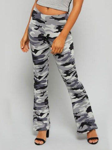 Onlinechoic Grey Camouflage Print High Waisted Fashion Long Flare Pants