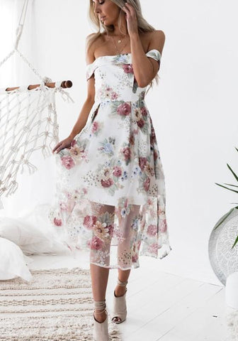 Red Floral Print Double-deck Zipper Boat Neck Sweet Midi Dress