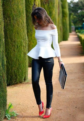 White Ruffle Off-Shoulder Neckline Peplum Long Sleeve T-Shirt