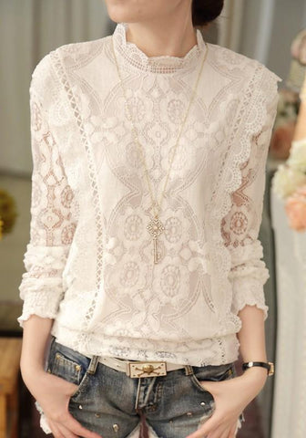 White Lace Grenadine Cut Out Band Collar Elegant Going out Blouse
