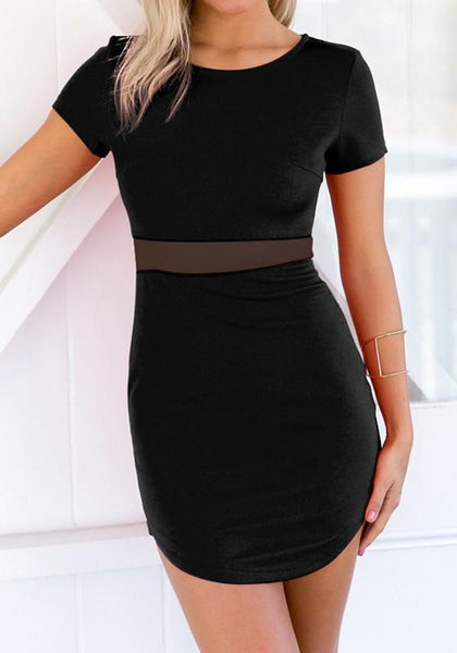 Black Patchwork Grenadine Irregular Round Neck Mini Dress