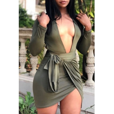 Casual V Neck Backless Green Mini Dress