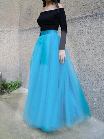 Blue Draped Pleated Grenadine High Waisted Elegant Skirt