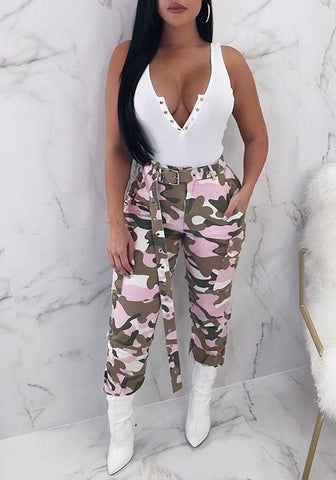 Pink Camo Print Belt Pockets High Waisted Cargo Casual Long Pants