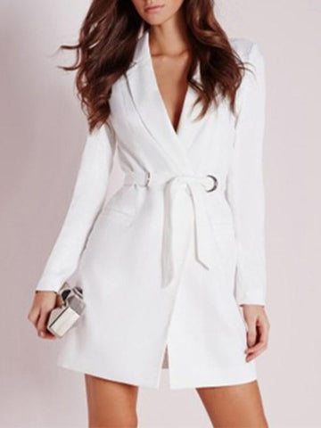 White Patchwork Belt Pockets Tailored Collar Fashion Outerwear