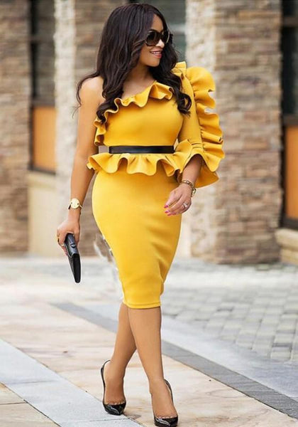 Yellow Ruffle Oblique Shoulder Peplum Falbala Bodycon Prom Evening Party Midi Dress