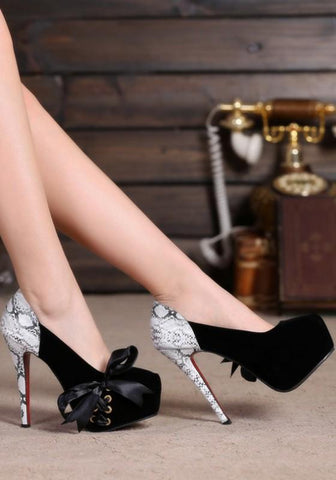 New Black Round Toe Stiletto Cross Strap Fashion High-Heeled Shoes