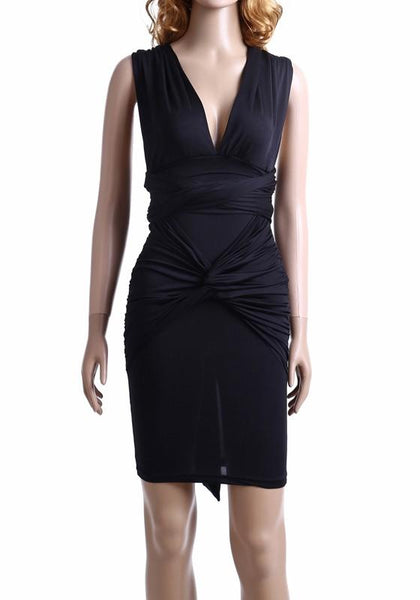 Black Plain Cross Back Cut Out Mini Dress