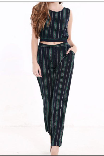 Striped Crop Top with Long Pants Two Pieces Set