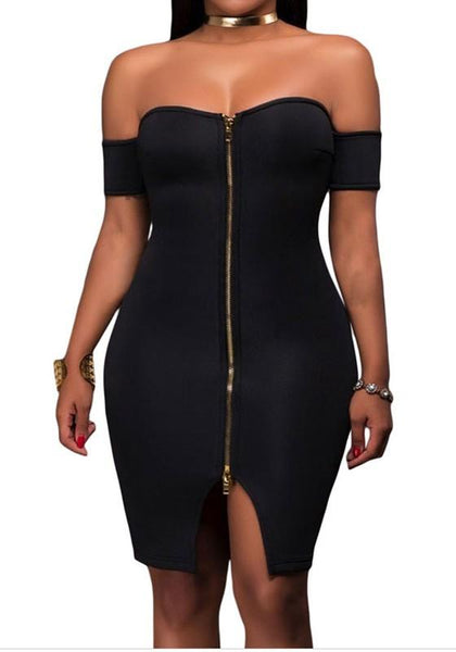 Black Zipper Bandeau Slit Off Shoulder Backless Bodycon Club Mini Dress