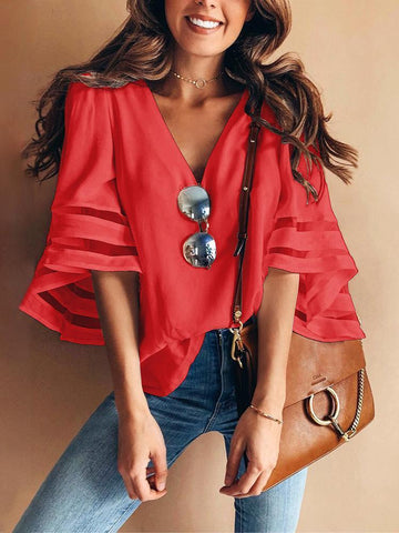 Solid Color V Neck Splice Loose T-Shirt Tops