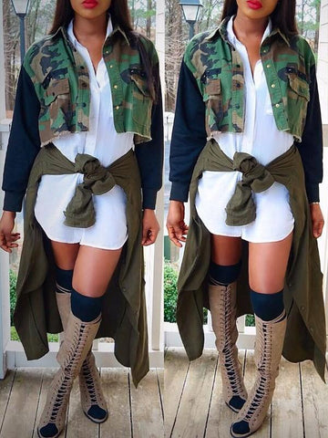 New Camouflage Single Breasted Pockets Rivet Long Sleeve Short Casual Jacket Outerwear
