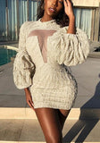 Apricot Patchwork Grenadine Ruffle Band Collar Balloon Sleeve Bodycon Party Mini Dress