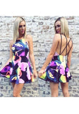 Multicolor Floral Cross Back Pleated Round Neck Mini Dress