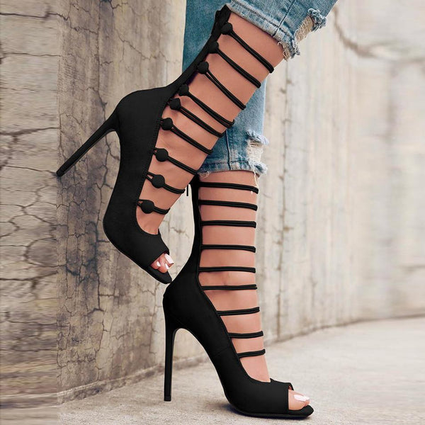 Back Zipper Straps Peep Toe Super Stiletto High Heels Sandals