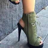 Side Zipper Peep Toe Lace UP Cut Out Short Boot Sandals