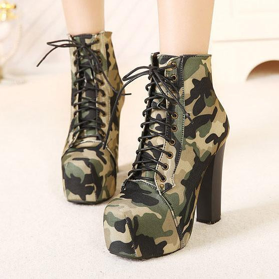 Camouflage Lace Up Platform Chunky High Heels Short Boots