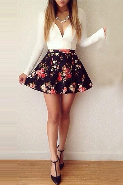 White Floral Patchwork V-neck Low-Cut Homecoming Cute Dress