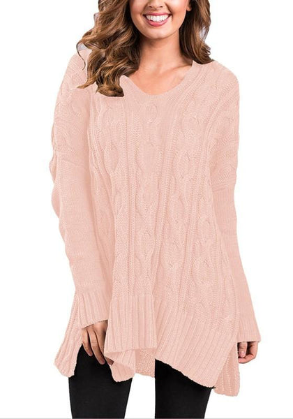 Light Pink Irregular Slit High-low Long Sleeve Round Neck Casual Pullover Sweatshirt