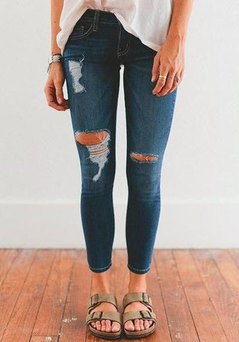 New Blue Cut Out Ripped Pockets Zipper Fashion Skinny Pencil Jeans