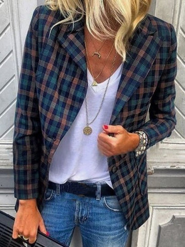 Onlinechoic Blue Plaid Pockets Buttons Turndown Collar Fashion Outerwear