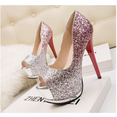 Gradient Sequins Peep Toe Platform Stiletto High Heels Sandals