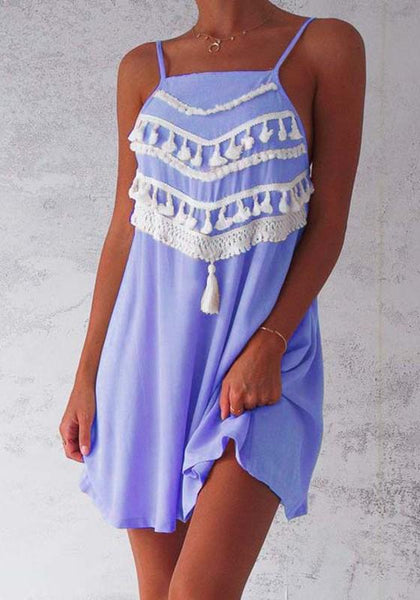 Blue-White Patchwork Tassel Spaghetti Strap Open Back Mini Dress