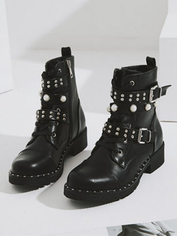 Black Round Toe Rivet Pearl Fashion Ankle Boots