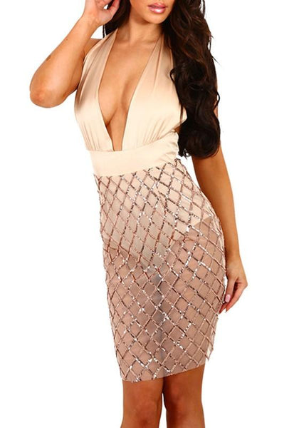 New Women Patchwork Sequin Grenadine Sashes See-through Tie Back Club Mini Dress