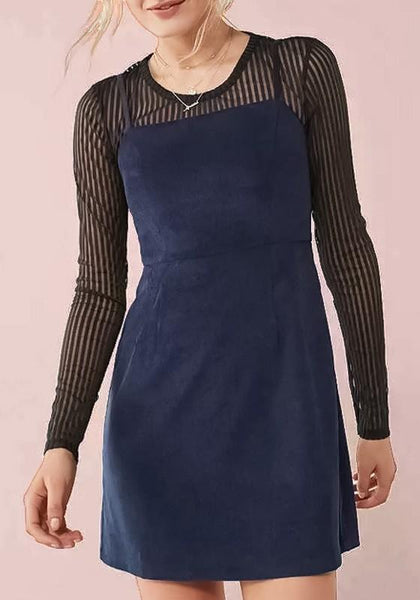 Navy Blue Irregular Condole Belt Sleeveless Mini Dress