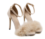 Fur Decorate Ankle Wrap Open Toe Stiletto High Heels Sandals