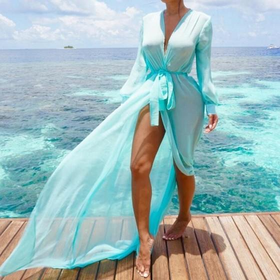 Sky Blue Grenadine Sashes See-through Lantern Sleeve Sheer Chiffon Thin Coat