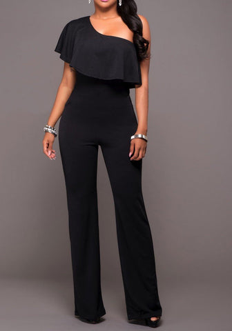 Black Asymmetric Shoulder Ruffle Zipper High Waisted Homecoming Wide Leg Long Jumpsuit